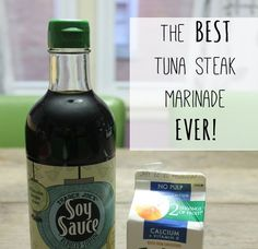Tuna Steak Marinade with Orange Juice - I'll be subbing some fiber syrup for the OJ & liquid aminos for the soy sauce for low carb Ahi Tuna Steak Recipe, Grilled Tuna Steaks, Steak Marinade Recipes, Easy Steak Recipes, Marinade Sauce, Seafood Recipes, Cooking Recipes, Fish Marinade, Fresh Tuna Steak Recipes