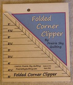 Quilt Sew Cut Folded Corner Clipper Tool Ruler by Prairie Sky Quilting TR109