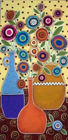 RUG HOOK PAPER PATTERN Pots & Flowers ABSTRACT FOLK ART Karla G | eBay
