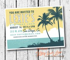 PRINTABLE Birthday INVITATION Retro Hawaiian Luau Wedding Engagement Bridal Shower Party Bachelorette Luau invite vintage Beachy vintage on Etsy, $19.00