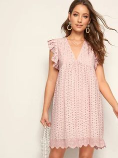 To find out about the Solid Eyelet Embroidery Scallop Hem Dress at SHEIN, part of our latest Dresses ready to shop online today! Dress Outfits, Casual Dresses, Fashion Dresses, Summer Dresses, Shift Dresses, Smock Dress, Ruffle Dress, Scalloped Hem, Embroidery Dress
