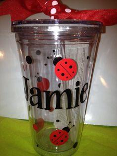 Personalized Tumblers 16 oz w/Straw BPA Free LadyBug by cgirard5, $10.00