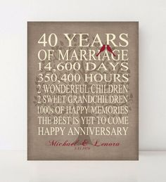 40 Year Anniversary 40th Anniversary Gift For Parents
