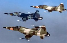 A formation of three U.S. Air Force aggressor Northrop F-5E Tiger II aircraft of the 527th TFTS, RAF Alconbury, U.K., on 15 January 1983.