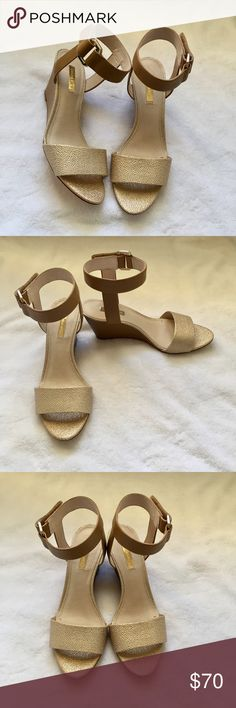 """Louise et Cie New Gold and Tan Wedge Sandals These are NWOT cute and comfortable Summer wedges! These pictures don't do any justice for how beautiful these sandals are. The ankle strap is Velcro secured, making them super quick to slip in and out of. Wedge heel = 3"""" Louise et Cie Shoes Wedges"""