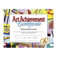 hayes school publishing art achievement certificate