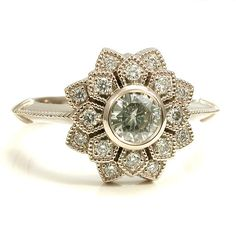 Moissanite and Diamond Art Deco Petal Engagement Ring - 14k Palladium White Gold