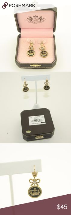 NWT! NIB! Juicy Coutour Earrings NWT! New in Box.  Juicy Couture Earrings.  Gold Tone earrings with gold Juicy crown in black enamel with petite bows and rhinestones.  Bundle Up!  Offers always welcome :) Juicy Couture Jewelry Earrings