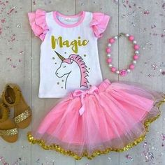 2018 New Pink Unicorn T-shirt Lace Tutu Skirt