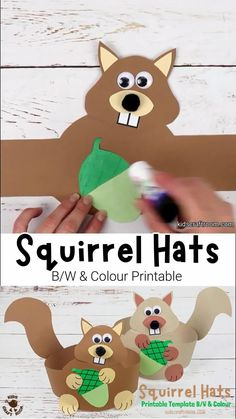 This printable Squirrel Hat Craft is adorable! The squirrel craft template comes in B/W and 2 colour versions making it super easy to make cute paper squirrel headbands. Such a fun Fall craft for kids. #kidscraftroom #squirrels #squirrelcrafts #kidscrafts #papercrafts #Autumncrafts #Fallcrafts #printables #woodlandanimals Hat Crafts, Monkey Crafts, Paper Crafts, Easy Diy Crafts, Diy Crafts Videos, Diy Paper, Fall Arts And Crafts, Fall Crafts For Kids, Art For Kids