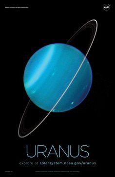 Version C of the Uranus installment of our solar system poster series. Solar System Poster, Nasa Solar System, Solar System Exploration, Space Exploration, Nasa Planets, Space Planets, Space And Astronomy, Uranus Planet, Planet Pictures