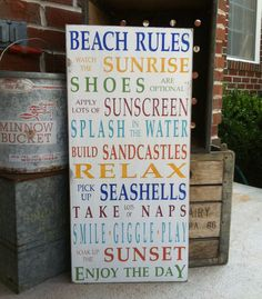 Beach Rules Vintage Style Typography Word Art by barnowlprimitives, $110.00