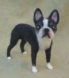 Needle felted Boston Terrier custom dog portrait by Ainigmati, $200.00