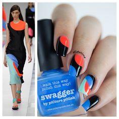 Tiffany Blue, Red, and Black Nails Inspired by Roksanda 2015 Spring Collec Kik@ 2015 Crazy Nail Designs, Nail Polish Designs, Beautiful Nail Designs, Nail Art Designs, Wow Nails, Crazy Nails, Pretty Nails, Nail Art Hacks, Gel Nail Art