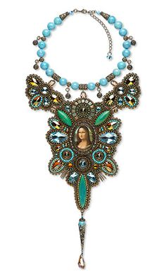 Mysterious Mona - Guzialia Reed -- Bib-Style Necklace with Seed Beads, Gemstone Beads and SWAROVSKI ELEMENTS