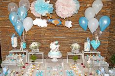 the desert table for this vintage plane baptism party in white, light blue and beje Baptism Party, Boy Baptism, Baptism Ideas, I Party, Party Time, Party Ideas, Desert Table, White Light, Light Blue