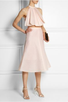 Vika Gazinskaya | Flared pintucked silk and cotton-blend skirt | NET-A-PORTER.COM