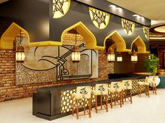 Fusion of bare brick wall highlighting moroccan style arches with color splash of sunny yellow