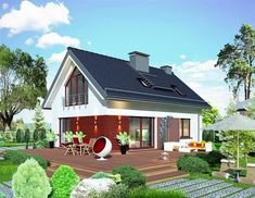 Projekt Domidea 58 mG Design Case, House Plans, Outdoor Structures, House Design, Cabin, House Styles, Outdoor Decor, Interior, Modern