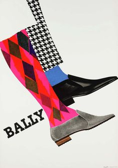 Bally: 1962. Lithograph printed by Wassermann AG for Bally Shoe Company of Switzerland.