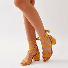 01f1862d5b20 Sophie Heeled Sandals in Yellow Faux Suede