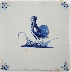 This is beautiful antique Delft tile with a rooster. The tile dates from the century. Delft Tiles, Blue Tiles, Antique Tiles, 17th Century, Tuna, Blue And White, Pottery, Birds, Watercolor