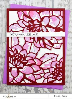 Ornate handmade card using Layered Floral Cover Die A and B.  www.altenew.com