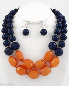 Chunky Layered Navy Blue Amber Orange Beaded Statement Necklace & Earrings Set