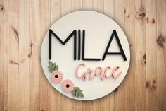 Custom Name Sign 24 Round Sign Baby Name Sign Nursery Signs, Nursery Room Decor, Nursery Wall Art, Girl Nursery, Nursery Ideas, Cute Baby Girl Names, Name Boards, Wood Names, Foto Baby