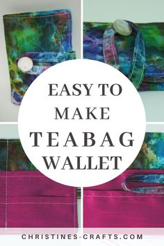 Teabag Wallet Tutorial with Photographs ~ Christine's Crafts Sewing Tutorials, Sewing Projects, Sewing Ideas, Bag Tutorials, Sewing Hacks, Craft Projects, Diy Wallet, Wallet Tutorial, Wallet Pattern