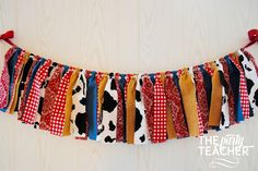 Got a hankering for a farm party? My fabric tie bunting provides just the touch of barnyard charm to your party and coordinates with any farm party printables or other decoration. My garlands are very Más Farm Animal Party, Farm Animal Birthday, Barnyard Party, Farm Party, Rodeo Birthday, Farm Birthday, Toy Story Birthday, 2nd Birthday Parties, Birthday Ideas