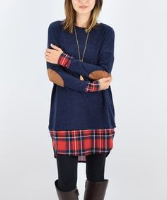Look what I found on #zulily! Navy & Red Plaid-Trim Elbow-Patch Tunic #zulilyfinds