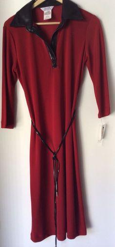 ALLEN BY ABS Faux Black Leather Trim Collar & Belt NWT Women Dress Size M #ABSbyAllenSchwartz #ShirtDress #Clubwear