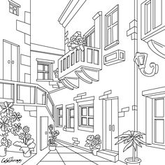 The sneak peek for the next Gift of The Day tomorrow. House Colouring Pages, Coloring Book Pages, Coloring Sheets, Free Adult Coloring, House Drawing, Digital Stamps, Printable Coloring, Embroidery Patterns, Drawings