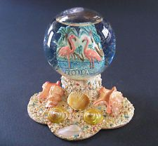 Vintage Florida Snow Dome Glass Globe Pink Flamingo & Sea Shell Made in Italy