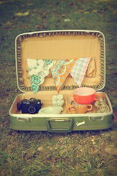 thrift-shop finds in vintage suitcase   Flickr - Photo Sharing!
