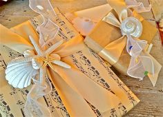 New Craft Tutorial, Seashell covered ribbon and gift wrap #packaging
