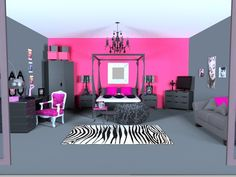 This may be just a little too pink for me...but it's fun and I love the zebra rug!