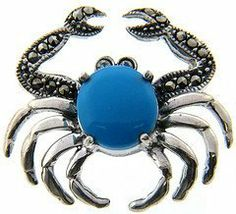Sterling Silver Marcasite and Simulated Turquoise Crab Brooch LEAH HANNA. $14.99. Save 50% Off!