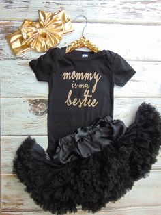 Mommy is my Bestie Bodysuit - Gold Glitter Newborn, Infant, Toddler Shirt - One Piece Outfit - Ann Marie Avenue - Mommy & Me Black Shirt