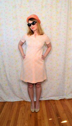 50s Vintage Brown Retro Pink Floral Mod Long Sleeve Shift Dress
