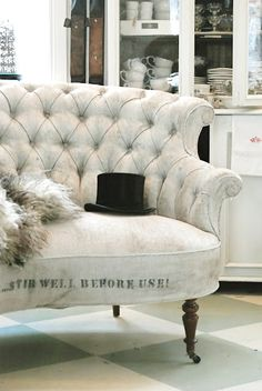 Painted Tufted Sofa - this piece started out as a not - so - attractive orange sofa and was completely transformed with paint. This is an inexpensive and easy way to update upholstered furniture - via Common Ground