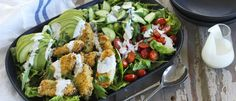 Try our Crispy Chicken Ranch Salad - perfect for summer entertaining. Avocado, crispy chicken and Eta Creamy Ranch Mayo! It's a match made in heaven! Crispy Chicken Salads, Chicken Recipes, Cherry Tomato Salad, Cherry Tomatoes, Food In A Minute, Lunches And Dinners, Meals, Chicken Tenderloins, Rabbit Food