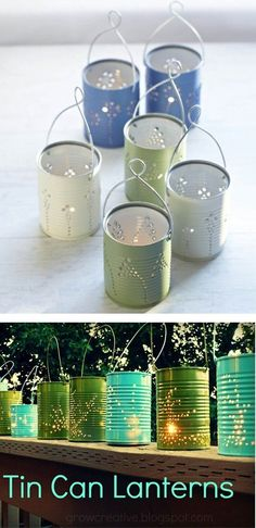 What a cute idea! DIY Tin Can Lanterns - recycle food cans, good activity for kids #recyclingforkids