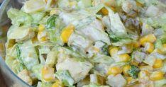 Składniki: - 1 podwójny filet z kurczaka - ok. 3/4 szklanki marynowanej cebulki - 1 puszka kukurydzy - 4-5 średnich marynowanych ogórków... Potato Salad, Potatoes, Impreza, Blond, Ethnic Recipes, Salad, Potato