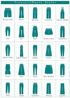 A visual glossary of trousers/pants styles More Visual Glossaries (for Her): Backpacks / Bags / Beads / Belt knots / Bobby Pins / Boots / Bra Types / Braids / Buns / Chain Types / Coats / Collars / Darts / Dress Shapes / Dress Silhouettes / Eyeglass...