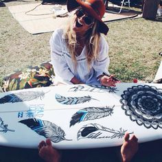 Surfboard... surf girl...