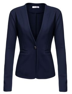 Red Long Sleeve Casual Work Office Slim Single Button Blazer