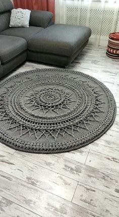 Crochet Mandala Pattern, Crochet Doily Patterns, Crochet Diagram, Crochet Doilies, Doily Rug, Mandala Rug, Knit Rug, Crochet Carpet, Crochet Home Decor