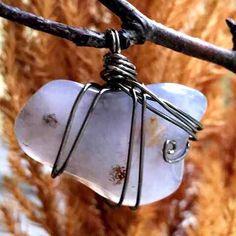 Blue Chalcedony wire wrapped jewelry pendant. Visit www.lunavim.com